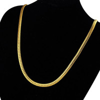 "Yan & Lei Hot Sale 24K Gold Plated Necklace Men Jewelry 6 MM Wide 18"" Snake Chain Necklace"