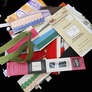 Vintage Lot of Sewing Notions - Rick Rack - Seam Binding - Zippers - Many More