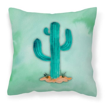 Western Cactus Watercolor Fabric Decorative Pillow BB7369PW1818