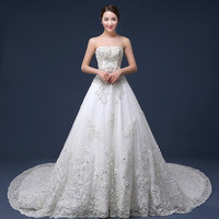 Stunning beaded lace Wedding dress 2015 new long train wedding bride wedding dress fashion luxury = 1929295108