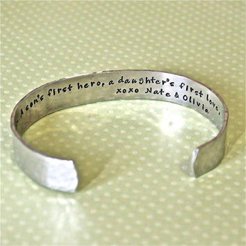 "Father""s Day / Dad Gift - A son's first hero...Custom Personalized Hand Stamped Bracelet by Korena Loves"