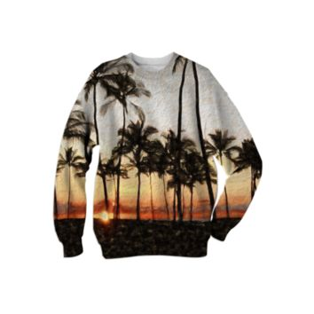 Hawaiian Sunset Rock Painting Sweatshirt created by Blooming Vine Design | Print All Over Me