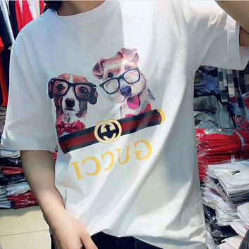 GUCCI 2018 Spring Cartoon Two Dog Couples T-shirt White