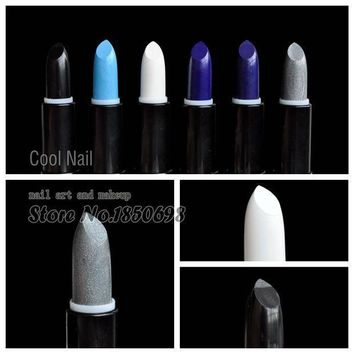 Cosplay Style The Kiss Of Death Pure Black White Lipstick Diamond Blue Lipstick Glitter Silver Lip Part Makeup Stick