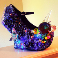 "Crystal ""SuperNova"" Studded Curved Heel Less Wedges"