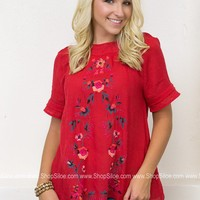 Southern Floral Embroidered Top