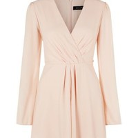 Shell Pink Wrap Front Wide Sleeve Playsuit