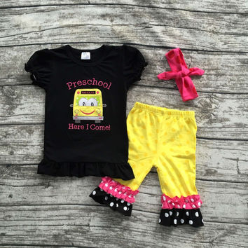 baby clothes baby girls car applique capri set girls back to school outfits pre school clothes with matching headband