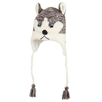 DeLux Husky Face Wool Pilot Animal Cap/Hat with Ear Flaps and Poms