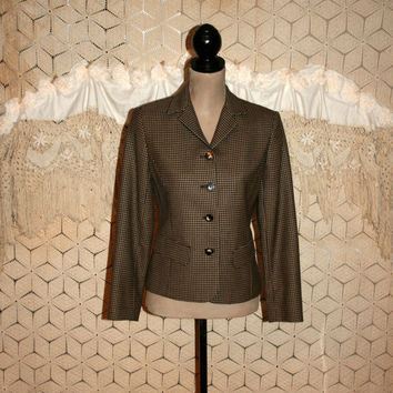80s Women Fall Jackets Wool Blazer Brown Houndstooth Petite Size 4 Jacket Small Fitted Black and Tan Liz Claiborne Womens Vintage Clothing
