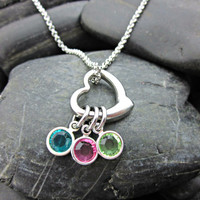 Personalized Mother's Necklace - Stainless Steel Heart and Birth Stones