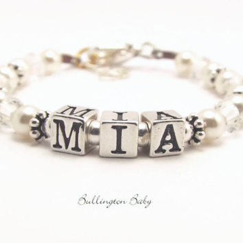 Baby Pearl and Crystal Name Bracelet (B68)