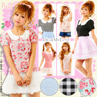 Dot or check or stripe or strawberry flower♪Round collar frill cut&sew