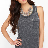Sandy Dark Grey Burnout Tank Top