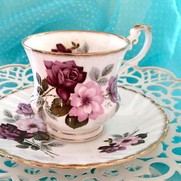 Vintage 1950's Tea Cup and Saucer, Floral Tea Cup, Teacup Set, High Tea, Pink China, Birthday Gift