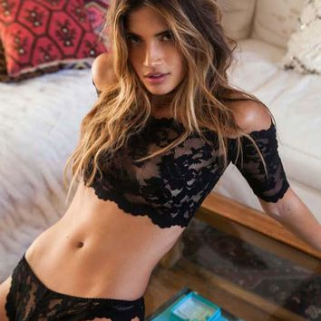 Hot black lace perspective bra+ thongs lingerie set