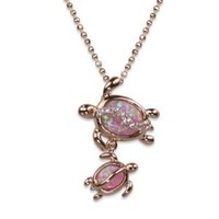 "14k Rose Gold Plated Sterling Silver Mom and Baby Turtle Synthetic Pink Opal Pendant and 18"" Box Chain"