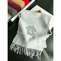 Versace New fashion embroidery human head letter tassel scarf women Gray