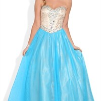 Long Homecoming Dress With Sequin Corset Bodice and Full Mesh Skirt
