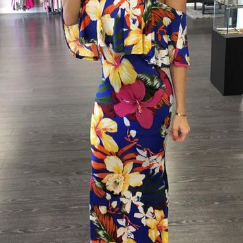 Yellow Floral Ruffle Boat Neck 3/4 Sleeve Maxi Dress