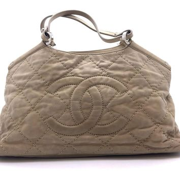 Auth Chanel Quilted Calfskin Leather Chain Shoulder Tote Bag Light Brown
