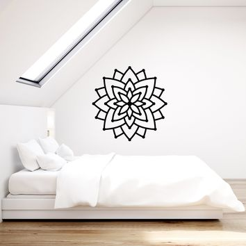 Vinyl Wall Decal Lotus Mandala Hinduism Buddhism Yoga Meditation Stickers Mural (ig5418)