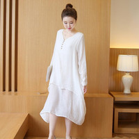 Maternity clothing solid color fluid long-sleeve dress long design Pregnant Women Dress
