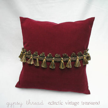 Wine Red Corduroy  Pillow Cover with Multi Colored Tassel Trim, 16""