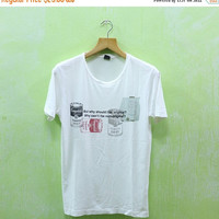 15% SALES Vintage Andy Warhol Campbell's Soup Pop Art Graffiti Street Keith Haring Designer White Tee T shirt