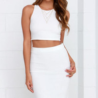 City Breeze Ivory Two-Piece Midi Dress