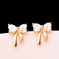 Gold and Rhinestone Bow Fashion Earrings - LilyFair Jewelry