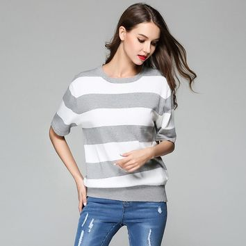 Stripes Knit Tops Pullover Bottoming Shirt [188223029274]