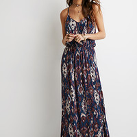 Ikat Crochet-Paneled Maxi Dress