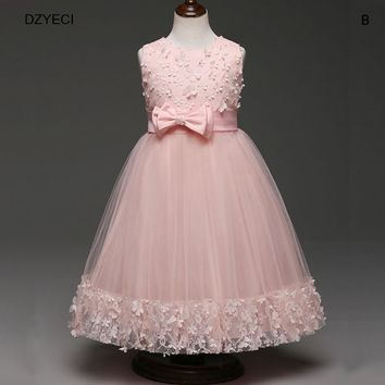 DZYECI Bridesmaid Floral Girl Dress For Wedding Party Costume Teenager Kid Bow Flower Lace Robe Princesse Frock Xmas Clothes 10Y
