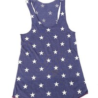 Alternative Apparel – All Over Stars Print Tank Top In Navy/White/Red|Thirteen Vintage