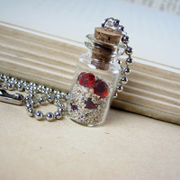 Buried Treasure 1ml Glass Bottle Necklace - Red Ruby Gems Glass Vial Pendant Charm - Hidden Pirate Gems in Sand