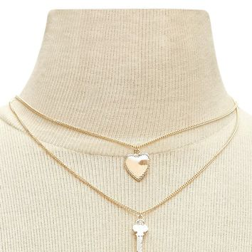 Key & Heart Necklace Set