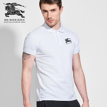Hot Sale Burberry ESTABLISHED 1856 Mens Polo Shirt 100% COTTON TOP