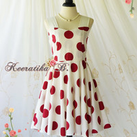 A Party Princess - Retro Sundress Off White With Red Polka Dot Dress Prom Party Dress Wedding Bridesmaid Dress Tea Dresses Custom Made