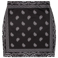 BLACK BANDANA SKIRT