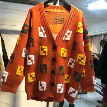 FENDI New Fashionable Women Casual Double F Letter Knit Long Sleeve V Collar Cardigan Jacket Coat Brown