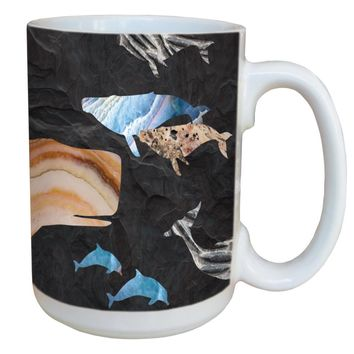 Whale And Dolphin Grouping Mug - Large 15 oz Ceramic Coffee Mug