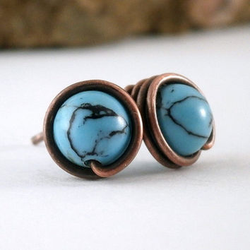 Copper and Turquoise Stud Earrings Antiqued Copper Wire Wrapped Studs Blue Earrings Aqua Stone Jewelry Wire Wrapped Earrings Posts