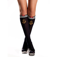 Be Wicked Sailor Girl Nautical Print Knee High Stockings
