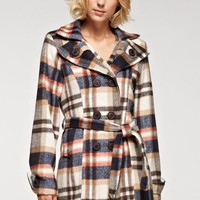 Plaid Wool Blend Coat