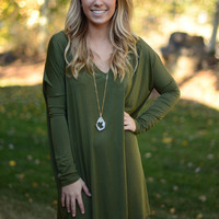 Long Sleeve Piko Dress - Army Green
