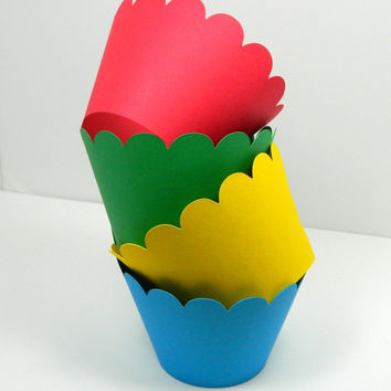 Cupcake Wrapper - Primary Colors Cupcake Wrapper  Party Decor Snack Wrappers