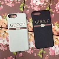 """Gucci"" Unisex Simple Letter Leather iPhone8/6S Phone Hard Shell iPhone7 Plus Apple Couple Phone Case"