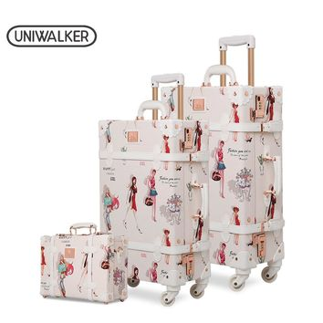 Fashion Girl Retro Rolling Luggage Bagages Pu Suitcase Set Trunk Vintage Luggages With Spinner Wheels for Women