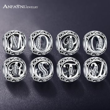 ANFASNI New Arrival 925 Sterling Silver Vintage Clear CZ Alphabet Bead Charms Fit Orig